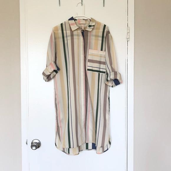 904e7d9e48 H&M Dresses | Hm Multicolored Striped Button Shirt Dress | Poshmark